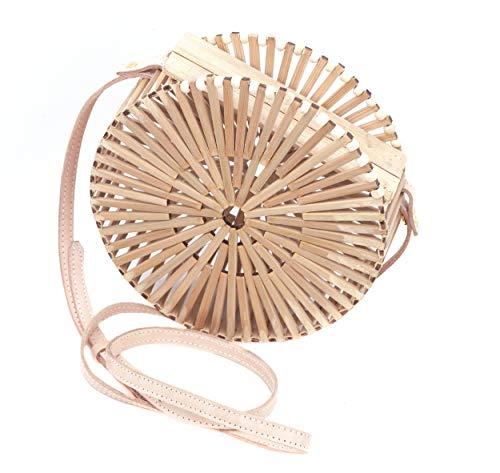 Bambus Handtasche rund, 21x21x7cm handgefertigt, der Trend des Sommers, EIN echtes Unikat