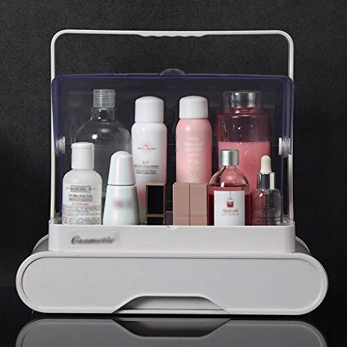 Maquillage Sac Clamshell cosmétiques Boîte de rangement transparent poussière Boîte de rangement Soins de la peau Rouge à lèvres Support de rangement en plastique blanc rose (Color : White)