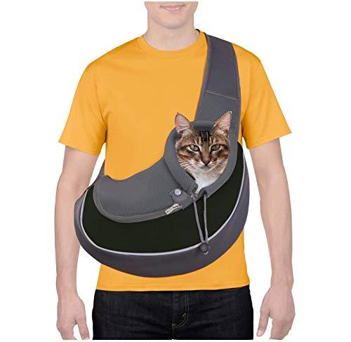 CUBY Haustiere Hund und Katze Tragetücher Hände frei atmungsaktives Netz verstellbare Welpentasche Travel Safe Sling Carrier für kleine Hunde Katzen(Einheitsgröße, Schwarz)