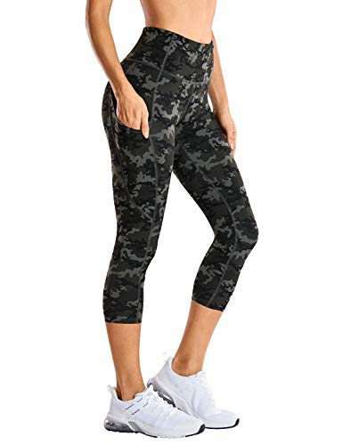 CRZ YOGA Women's Naked Feeling High Waist Gym Workout Capris Leggings with Pockets 19 Inches Camo Multi 1 19'' Small