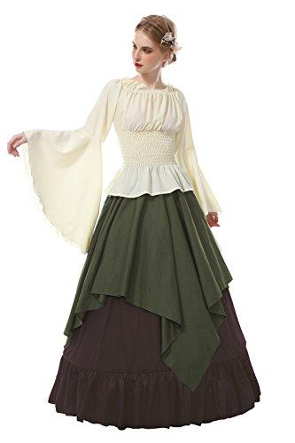 ROLECOS Renaissance Costume Women Medieval Peasant Dress Trumpet Sleeve Victorian Ren Faire Shirt and Skirt Army Green XXL