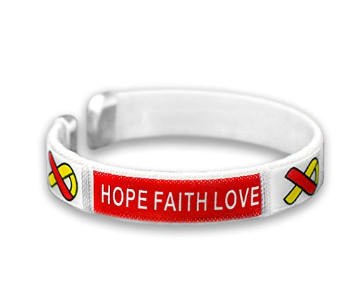 Fundraising For A Cause | Red & Yellow Ribbon Fabric Bangle Bracelet - Coronavirus (COVID-19) and Hepatitis C Bracelet for Fundraising and Awareness (1 Bracelet)