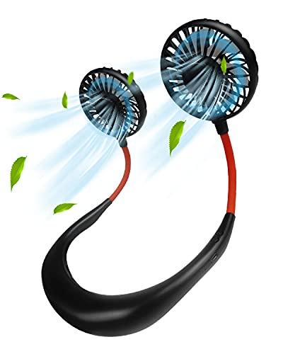 Maxesla Ventilador personal portátil – Ventilador con arco para el cuello con dos cabezales de viento, fuerte flujo de aire, silencioso, 3 velocidades, luz LED, giratorio 360°, recargable por USB