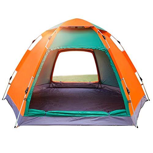 Wsaman 3-4 Personen Leichtes Schnellaufbau-Zelt, Portable Beach Zelt Gartenpavillon Pop up Pavillon Campingzelt Anti-UV für Trekking, Camping Outdoor Festival Outdoor-Strand Tents,Green + orange