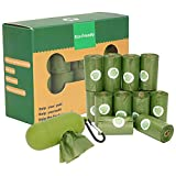 Dog Poop Bag with One Dispenser, Eco-friendly, Thick and Strong Leak Proof, Lavender Scent, Green, 16 Rolls