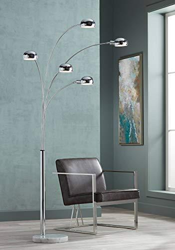 Infini Mid Century Modern Arc Floor Lamp 5-Light Chrome Marble Base Swivel Dome Shades for Living Room Reading - Possini Euro Design Art Deco Swivel Lamp