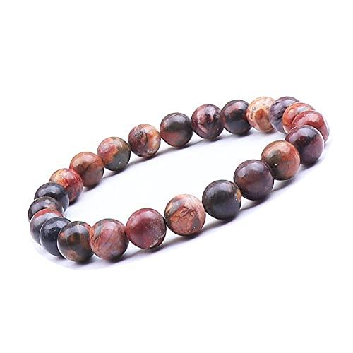 UEUC - Pulsera de piedras preciosas naturales para mujeres y hombres, piedras preciosas de chakra de 8 mm, perlas redondas de cristal de cuarzo, pulsera extensible (#2)