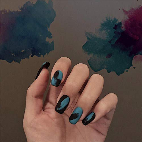 CLOAAE Oil painting style Matte ins hit pure color false nails 24pcs Bride full nail tips middle-long size lady fake nails