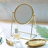 PuTwo Miroir Maquillage Simple Face Miroir de Table en Métal Miroir Vintage 360 Degrés de Rotation Miroir Rond Miroir Rotatif...