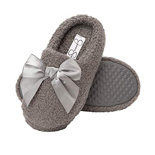 Jessica Simpson Girls Slip-On Clogs - Fuzzy Comfy Warm Memory Foam Sherpa Slippers with Satin Bow,Grey,SM