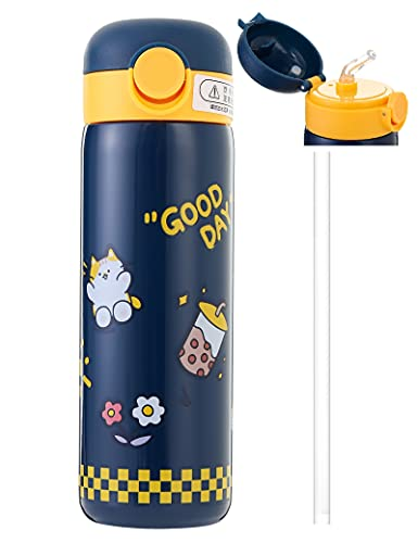 Kinder vakuumisolierte Wasserflasche mit Strohhalm, 400 ml, auslaufsichere...
