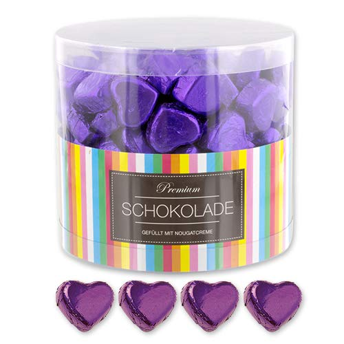 150 lila Schokoladen Herzen Rio