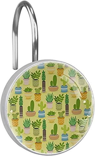 CAJOLG Duschvorhang-Haken, Kaktuspflanzen, grün-gelb, 12 Stück Duschvorhang-Haken, Ringe, rostwiderstandsfähig, Metall-Gleitmittel,Duschvorhangringe