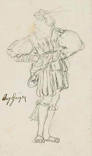 H. W. Fichter Kunsthandel: A. Geiger (*1847), Gewandstudie höfische Tracht mit Wams, Bleistiftzeichnung