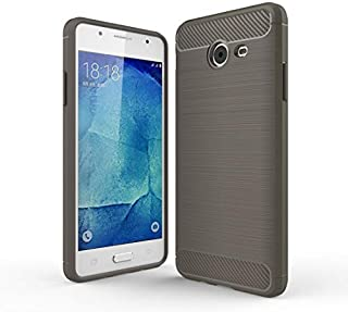 携帯電話アクセサリー ギャラクシーJ5(2017)/ J520(US Version)ブラッシュテクスチャー炭素繊維耐衝撃性TPU頑丈な鎧保護ケース(ブラック) 電話用 (Color : Grey)