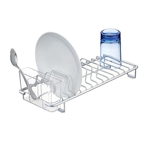 MDESIGN Geschirrabtropfgestell - Abtropfgestell für Geschirr & Besteck - Geschirr-Abtropfgitter aus Aluminium - für Teller, Becher & Co. - mit Besteckkorb - Silber/durchsichtig
