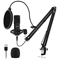 Sudotack USB Streaming Podcast PC Microphone with sound card Boom Arm Shock Mount Pop Filter