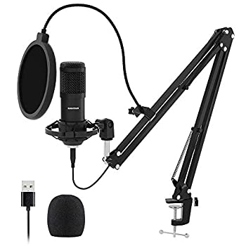 USB Streaming Podcast PC Microphone SUDOTACK professional 192KHZ/24Bit Studio Cardioid Condenser Mic Kit with sound card Boom Arm Shock Mount Pop Filter for Skype YouTuber Karaoke Gaming Recording