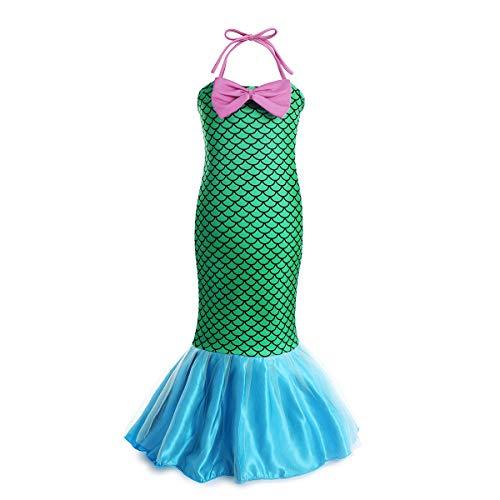 FYMNSI Disfraz de Sirena Niña Princesa Ariel Vestidos Largos Impresión de Escamas de Pescado Sin Mangas con Cola de Cosplay Carnaval Fiesta Halloween Ceremonia Chicas 7-8 Años