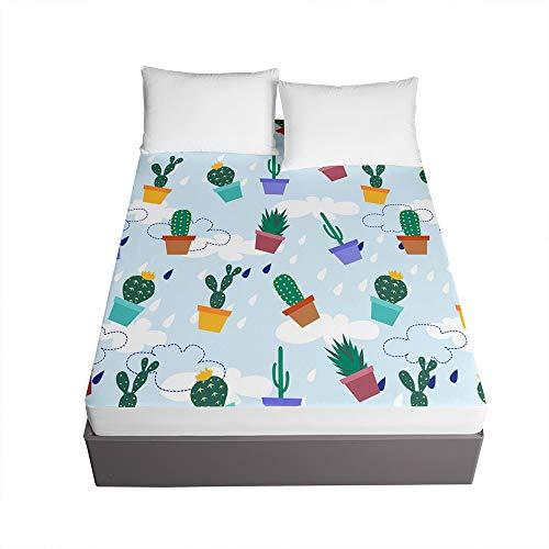 3D Sábana Bajera Ajustable Colchones Decorativa, Chickwin Cactus Impresión Suave Cómoda Transpirable Microfibra Tela- Elástico en el Borde Bolsillo Profundo 30cm (Nubes Blancas,150x200x30cm)