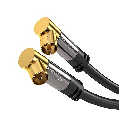 KabelDirekt - Antennenkabel 90° gewinkelt - 3m - (75 Ohm, Koax Stecker > Koax Kupplung Koaxialkabel geeignet für TV, HDTV, Radio, DVB-T, DVB-C, DVB-S, DVB-S2, Winkelstecker) - PRO Series