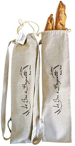 Rustic Baker Lot de 2 sacs pour baguettes avec bandoulière & cordon de serrage en lin 100% naturel,...