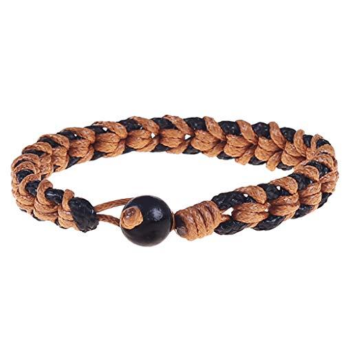 Jaminy - Pulsera unisex tejida a mano de algodón con textura marrón y negro