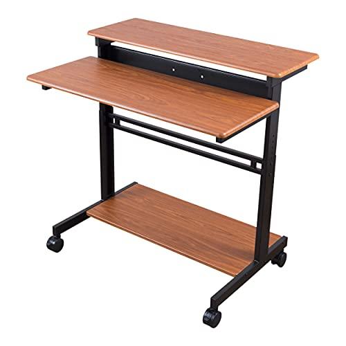 Stand Up Desk Store Rolling Adjustable Height Two Tier Standing Desk Computer Workstation (Black Frame/Teak Top, 40' Wide)
