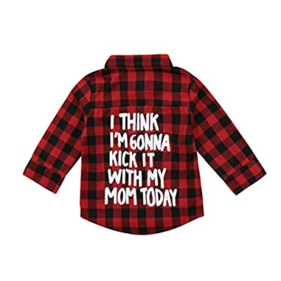 waterluo Unisex Toddler Kids Baby Girls Printed Plaid Shirt Long Sleeve Tops Coat Fall Winter Clothes (Red Plaid, 2-3 Years)