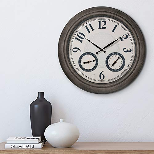 PresenTime & Co 18' Indoor/Outdoor Luminous Wall Clock with Thermometer & Hygrometer, Quartz Movement-Grey Oak Finish, Bright Warm Light Farmhouse Series