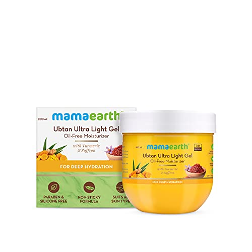 Mamaearth Ubtan Ultra Light Gel Oil-Free Moisturizer For Face, Body and Hands; with Turmeric & Saffron for Deep Hydration - 200 ml