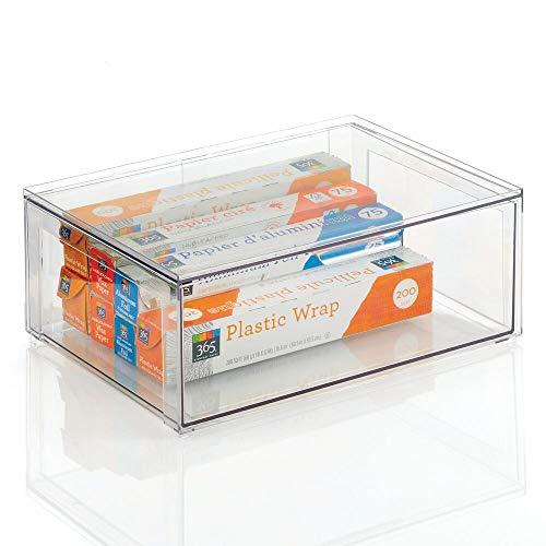mDesign Organizador de armarios Grande con cajón – Caja organizadora Estable de plástico – Caja apilable para Guardar Alimentos, Ingredientes de repostería y Otros – Transparente