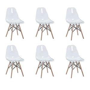 Seduto in cima gambe affusolate in legno con un filo nero x-brace, il sedile in acrilico stampato su questa sedia offre flessibilità e comfort di supporto con una tasca profonda e un bordo a cascata. Sedile in plastica con schienale alto ergonomico e...
