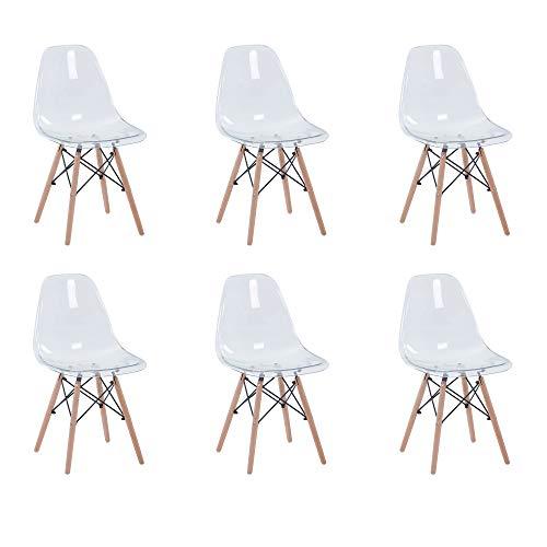 6 sedie sala da pranzo moderne BenyLed Set di 6 Sedie Trasparenti in Policarbonato Sedie da Pranzo Moderne Scandinavo Design Sedia Cucina con Gambe di Legno (IMS-TR-6WH)