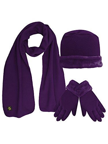Purple Plush Fur Trim Fleece 3 Piece Hat Scarf & Glove Set