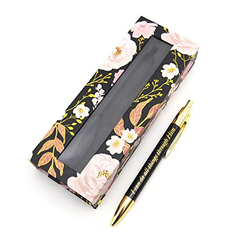 パンチスタジオ 箱入りボールペン (ピンクの花×ブラック) 45016