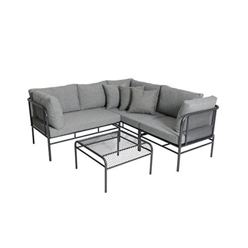 greemotion Loungeset Toulouse eisengrau/grau, Eckbank mit Tisch für In- und Outdoor, Bank mit Rückenverstellung, pflegeleichtes...