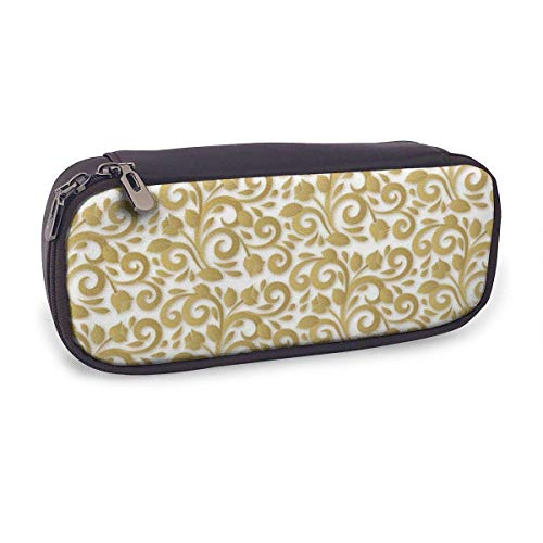 Pencil Case Pen Bag,Ornamental Flowers Wallpaper,Large Capacity Pen Case Pencil Bag Stationery Pouch Pencil Holder Pouch with Big Compartments
