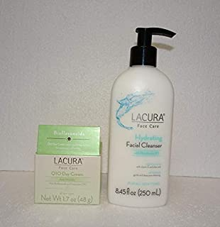 Lacura Anti Wrinkle Face Q10 Day Cream 1.7oz and Face Care Hydrating Facial Cleanser 8.45fl oz (Pack of Two)