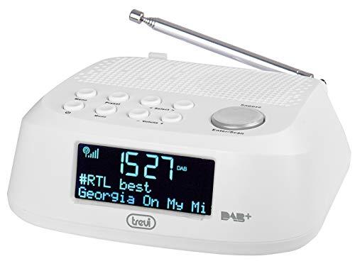 Trevi RC 80D4 DAB Radiosveglia Elettronica con Ricevitore Digitale DAB DAB+, Grande Display LED, Funzione Sleep, Funzione Snooze, Bianco