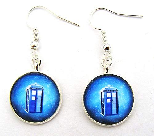 Générique Dr Who, Boucles d'oreilles en Perles de Verre, Sci FI, Crochets argentés, 1,3 cm de diamètre, fabriquées à la Main