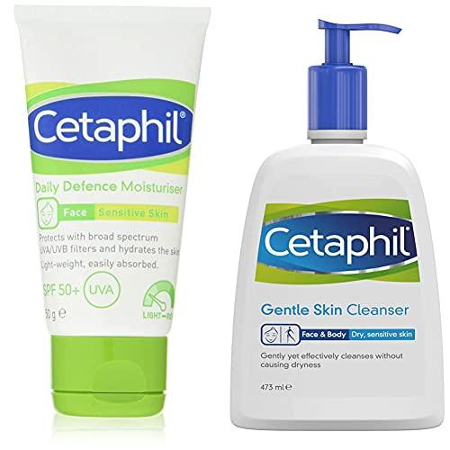 Cetaphil Daily Defence Face Moisturiser with SPF50+ | 50g | Sensitive Skin | Lightweight SPF | UVA/UVB filters | Fragrance-free & Gentle Skin Cleanser, 473ml