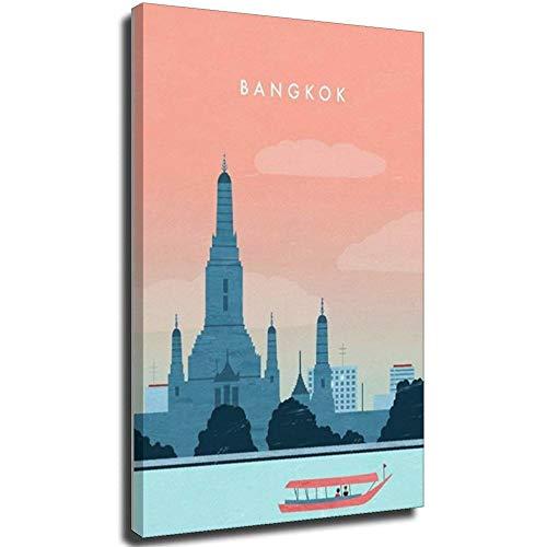 Lesign Bangkok Retro-Reise-Poster, dekoratives Gemälde, Leinwand, Wanddekoration, Heimdekoration, Sammlerstück Vintage-Poster, 30 x 45 cm, Rahmen 1 70 x 100 cm