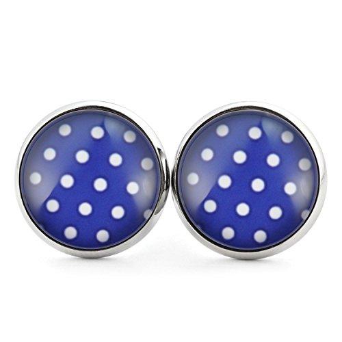 SCHMUCKZUCKER Ohrstecker Damen Muster Polka Dots Punkte silber-farben dunkelblau weiss 14mm