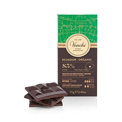 Venchi Tavoletta di Cioccolato Extra Fondente 85% Ecuador BIO, 70g - Cioccolato Monorigine, Biologico - Senza Glutine
