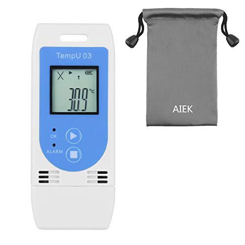 AIEK USB温湿度記録計 温度データーロガーデータレコーダー 32000ポイント簡単に温度を記録し、解析できるデータロガー 温度警告 レポート自動生成 高精度温度計デジタル記録計室内温度計湿度計