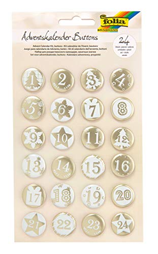 folia 1219 - Adventskalender Buttons, Perlmutt, 24 Stück, aus Metall, zum Gestalten individueller Adventskalender, weiß/gold