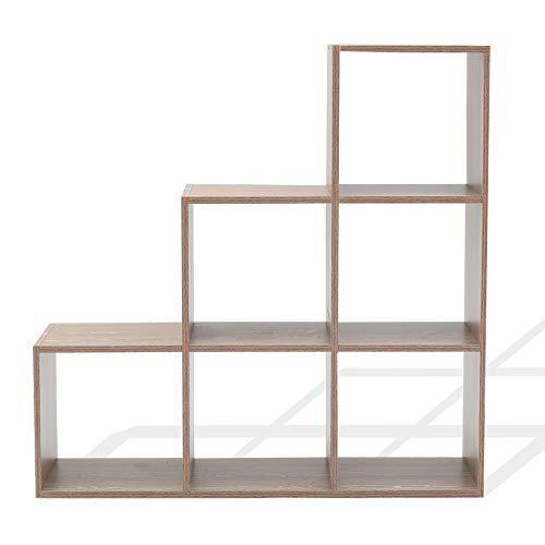 Rebecca Mobili Scaffale a gradini, libreria con 6 scompartimenti, Moderna, Marrone Bianco, per cameretta Ufficio, per Documenti soprammobili - Misure: 97,5 x 97,5 x 29 cm (HxLxP) - Art. RE6042