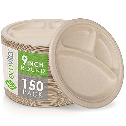 100% Compostable Paper Plates [9 in.] Compartments – 150 Disposable Plates Eco Friendly Sturdy Tree Free Liquid and Heat Resistant Alternative to Plastic or Paper Plates by Ecovita