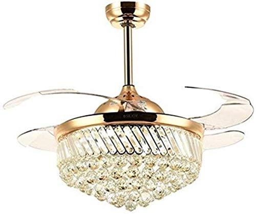JIAN Exquisite Lighting plafondventilatoren LED-lamp dimbaar ZjNhl met intrekbare lichten, onzichtbare messen, kristal, goud, 36 inch